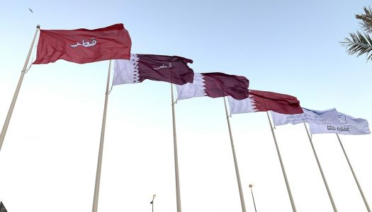 Qatar Museums installs historical flag display outside of the National Museum of Qatar
